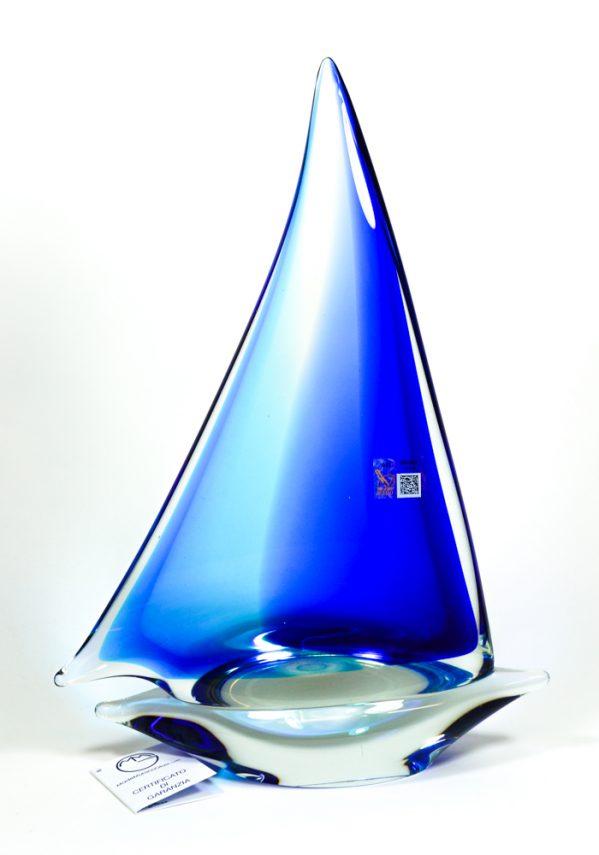 Barca A Vela Grande Blu In Vetro Murano - Made Murano Glass