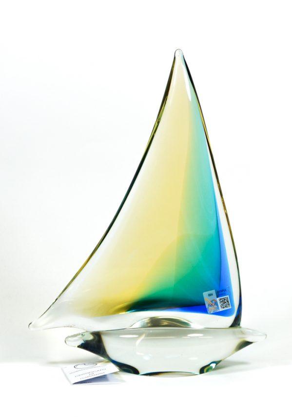 Barca A Vela Grande Ambra In Vetro Murano - Made Murano Glass