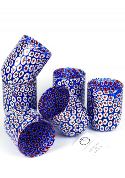 Xmas – Set 6 Murano Drinking Glasses Millefiori – Made Murano Glass