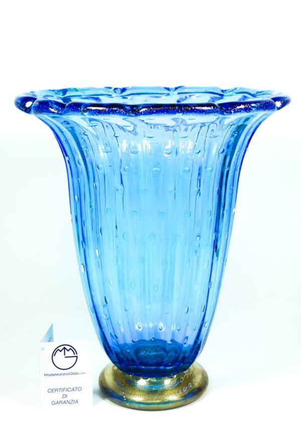 Splash - Vaso Vetro Murano Acquamare E Oro 24kt