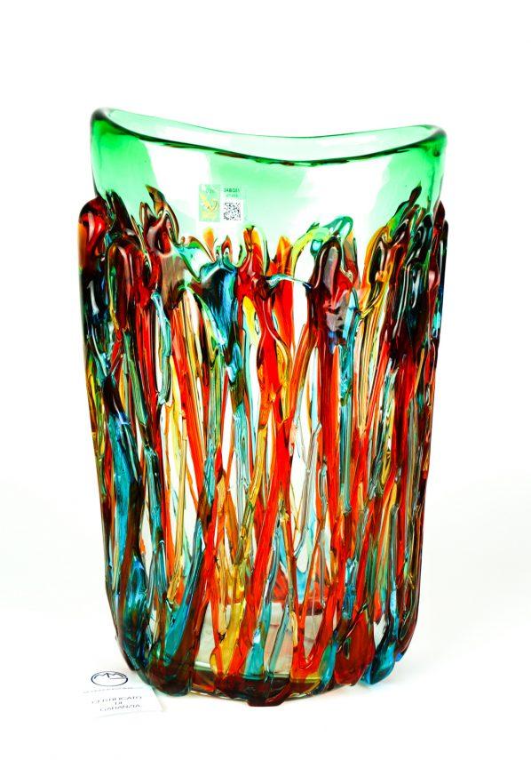 Mirto - Vaso Vetro Soffiato Verde Fili Multicolore