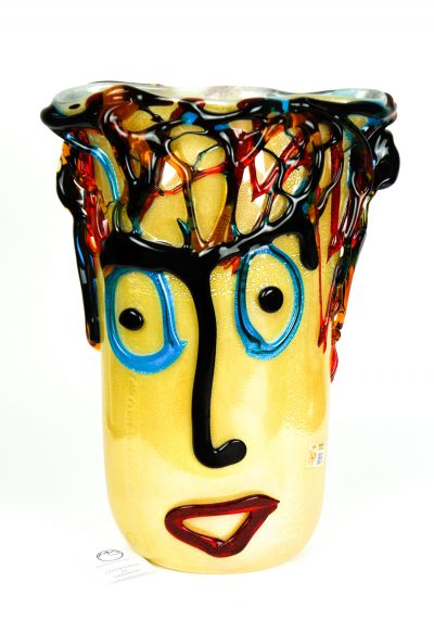 Vase Tribute To Pablo Picasso White Silver Leaf