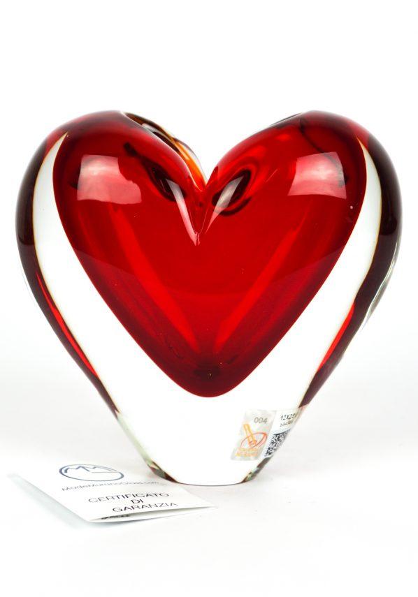 Scultura Vaso Cuore Rosso Sommerso - Made Murano Glass