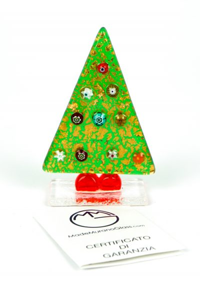 Green Christmas Tree With Murrina And Gold – Murano Glass Ornaments