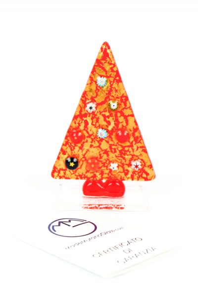 Red Christmas Tree With Murrina And Gold – Murano Glass Ornaments