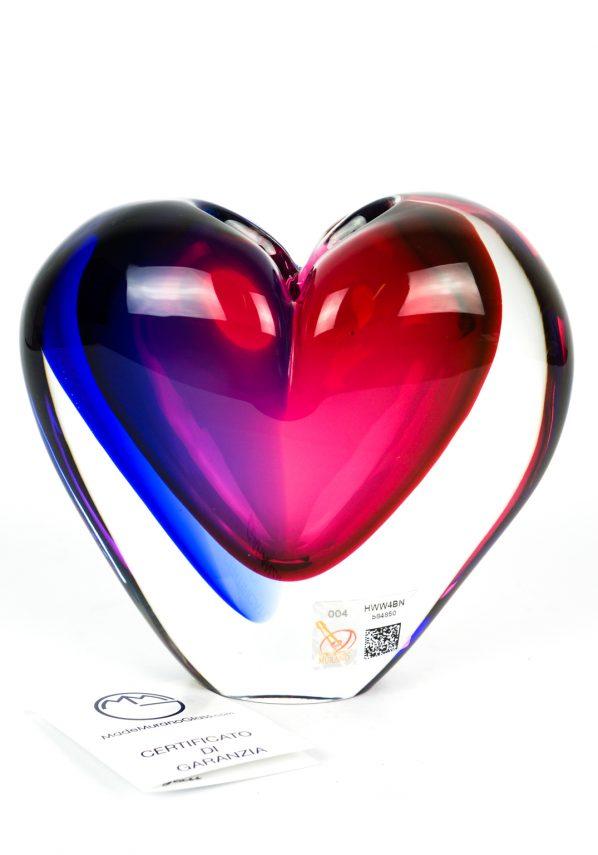 Scultura Vaso Cuore Blu Rubino Sommerso - Made Murano Glass