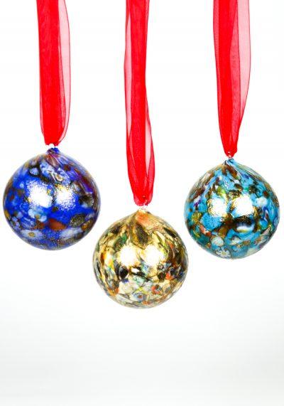 3 Murano Glass Xmas Balls