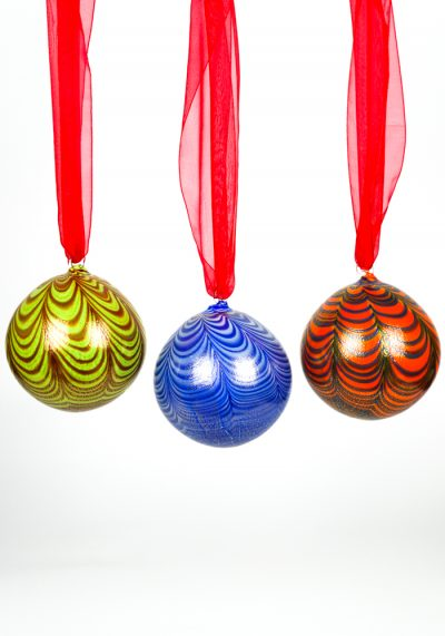 3 Christmas Balls In Venetian Blown Glass