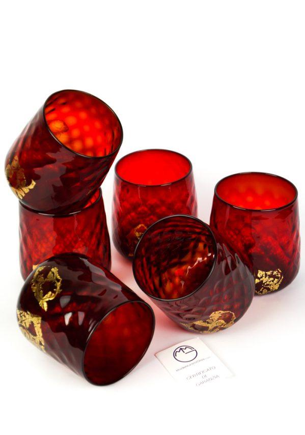 Luxury - Set Di 6 Bicchieri Vetro Soffiato Rosso Oro
