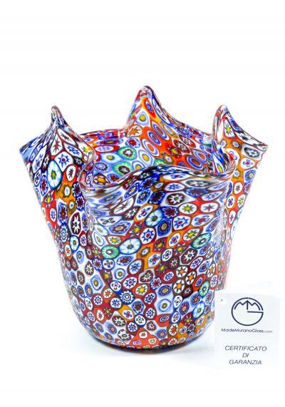 Venetian Glass Vase – Handkerchief – With Murrina Millefiori