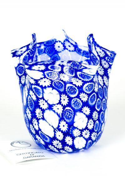 Murano Handkerchief Vase Blue Murrina Millefiori