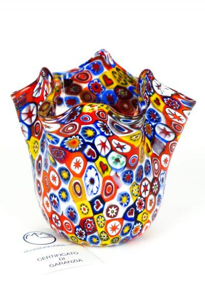 Murano Handkerchief Vase Murrina Millefiori