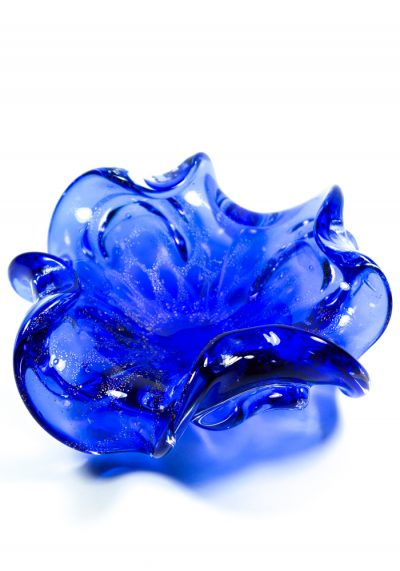 Blue And Golden Murano Glass Bowl