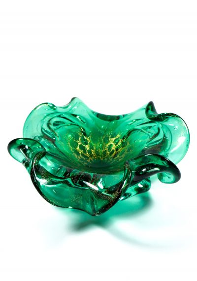 Green And Golden Murano Glass Bowl