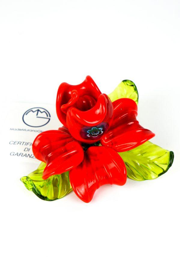 Fiore Rosa Rossa In Vetro Murano