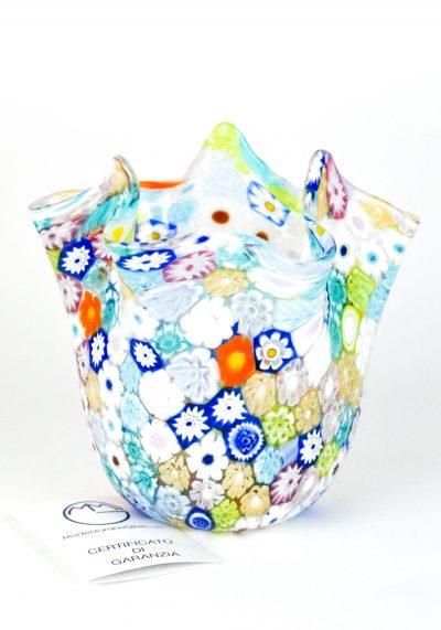 Murano Handkerchief Vase Harlequin Murrina Millefiori