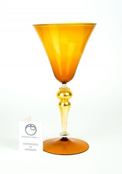 Arena – Venetian Glass Amber Goblet – Murano Wine Glasses