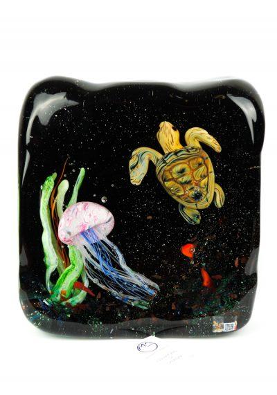 Murano Glass Aquarium Turtle And Jellyfish – Made Murano Glass