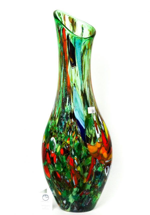 Emay - Grande Vaso Fantasia Verde In Vetro Murano
