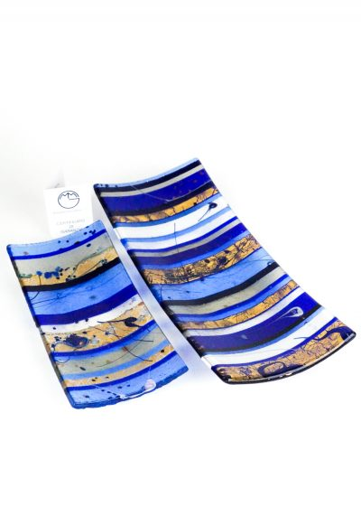 Gondola Plate Murano Glass – Blue Gold Leaf