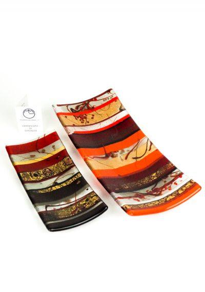 Gondola Plate Murano Glass – Red Gold Leaf