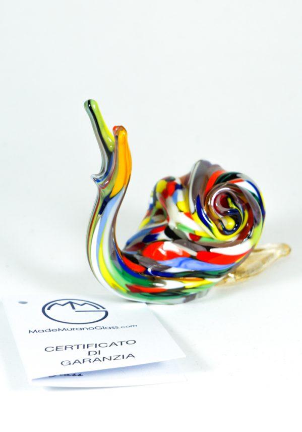 Lumaca Vetro Murano Con Mace Multicolore