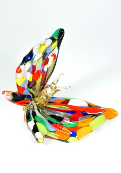 Murano Glass Animal Butterfly With Mace Multicolor And Gold – Made Murano Glass