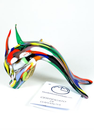 Murano Glass Fish Dolphin With Mace Multicolor And Gold – Made Murano Glass