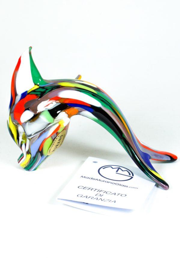 Delfino Vetro Murano Con Mace Multicolor