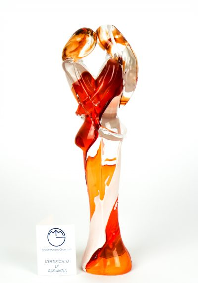 Lovers Sculpture – Orange And White – Made Murano Glass