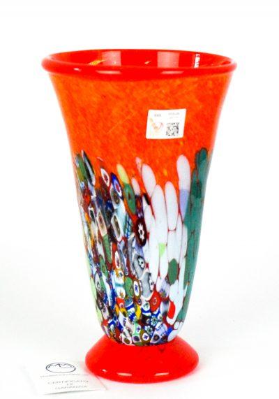 Primavera Sboccia – Blown Vase Red And Murrina Millefiori