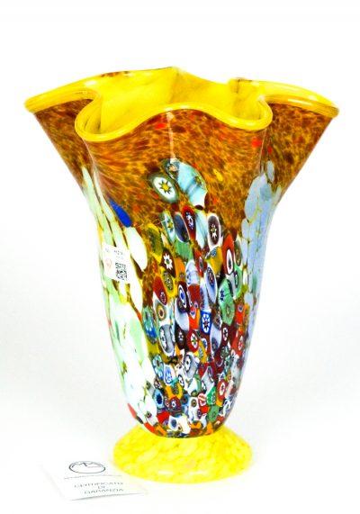 Primavera Sole – Blown Vase Yellow And Murrina Millefiori