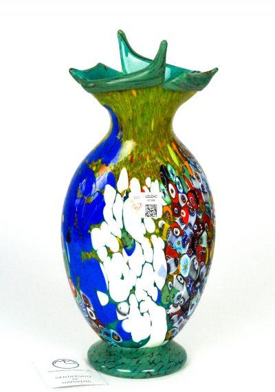 Primavera Taglio – Blown Vase Green And Murrina Millefiori