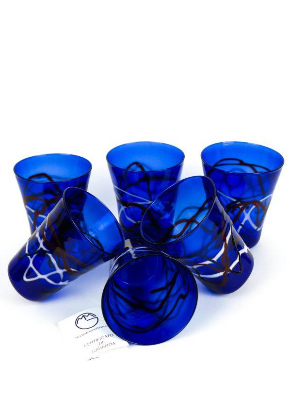 Miami - Set Di 6 Bicchieri Vetro Soffiato Blu