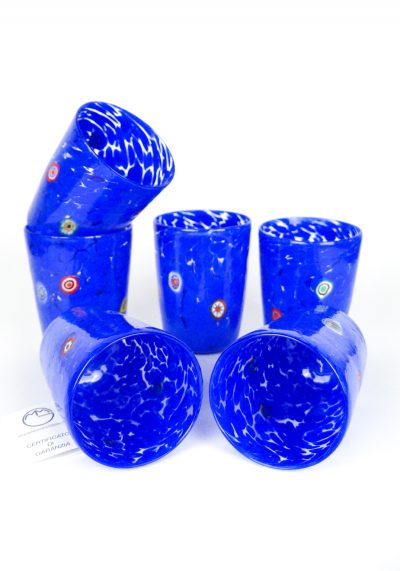Lilly – Set Of 6 Drinking Glasses Blue- Murano Tumbler