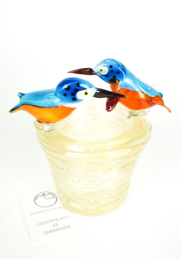 Scultura Nido 2 Uccelli Martin Pescatore
