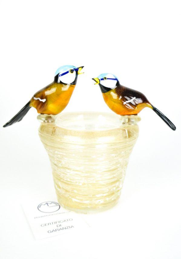 Scultura Nido 2 Uccelli Gardellini