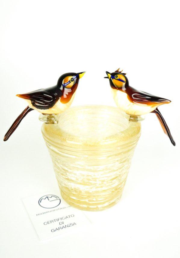 Scultura Nido 2 Uccelli Vetro Murano