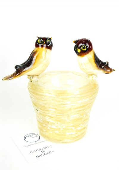 Nest With 2 Owls – Murano Glass