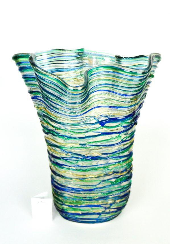 Klot - Vaso Vetro Soffiato Fili Multicolore E Argento