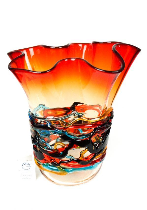 Fogo - Vaso Rosso Vetro Soffiato Fili Multicolore