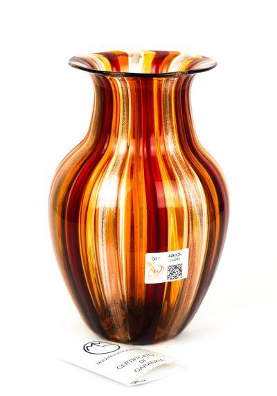 Oleon – Vase In Pipe Red Amber Avventurine
