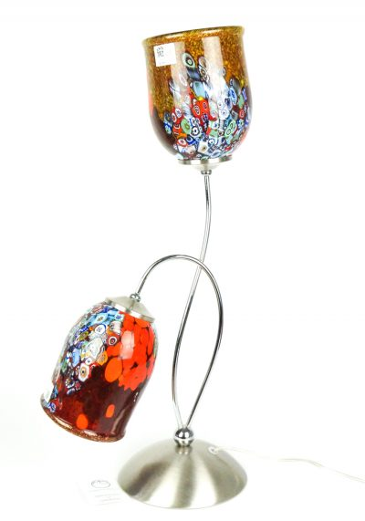 Murano Glass Table Lamps Red With 2 Lights