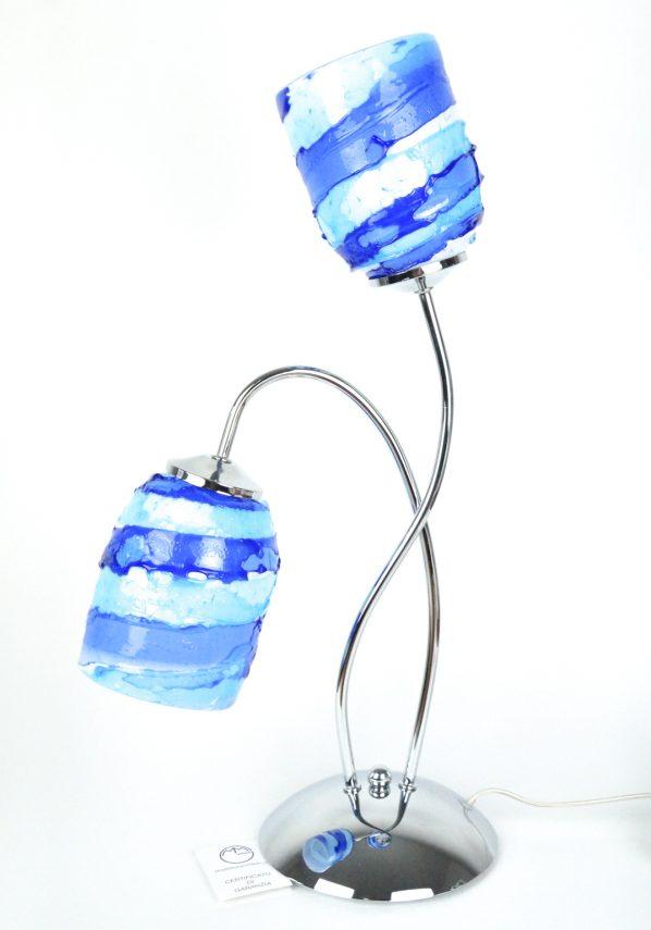 Lampada Da Tavolo A 2 Luci Vetro Murano - Sbruffo Blu Acquamarina