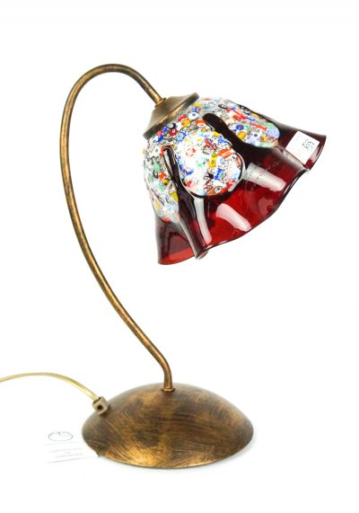 Amys – Murano Glass Table Lamp Red With Millefiori