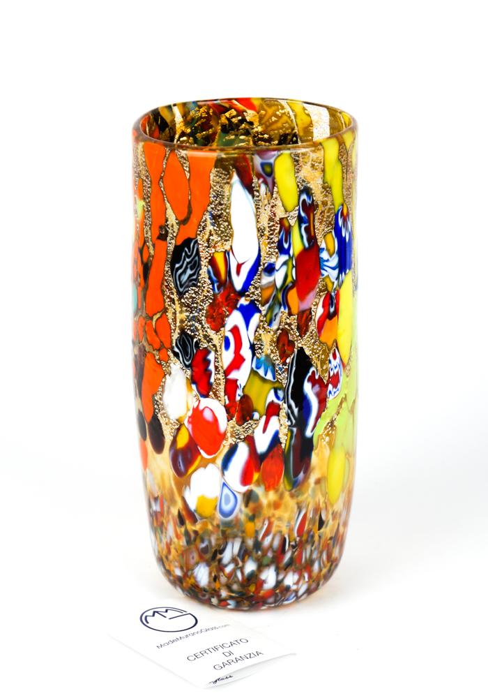 Cilindro - Amber Murano Glass Vase Fantasy
