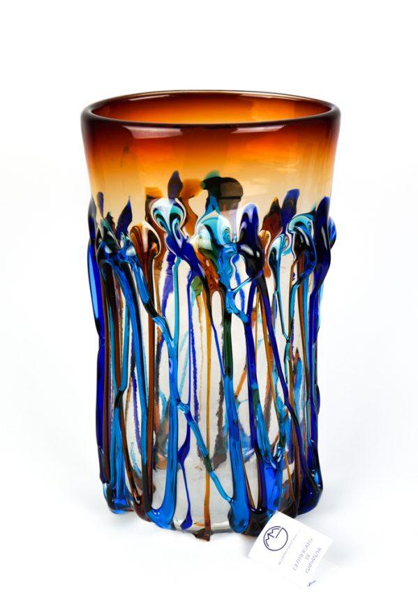 Cascata - Vaso Vetro Soffiato Fili Multicolore