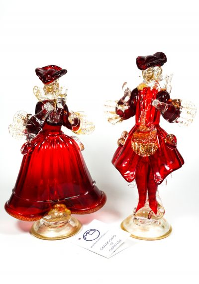 Murano Glass Figurines – Dancers Red And Gold 24 Carats – Made Murano Glass