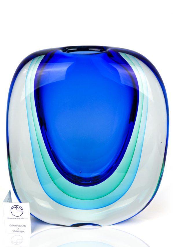 Marino - Vaso Sommerso Blu Verde Acqua - Made Murano Glass