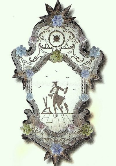 Venetian Glass Wall Mirror – Dama – Murano Collection